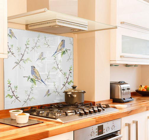 Bird branch diy kitchen glass splashback