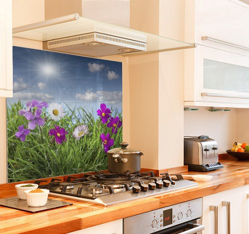 Meadow in Bloom diy kitchen glass splashback