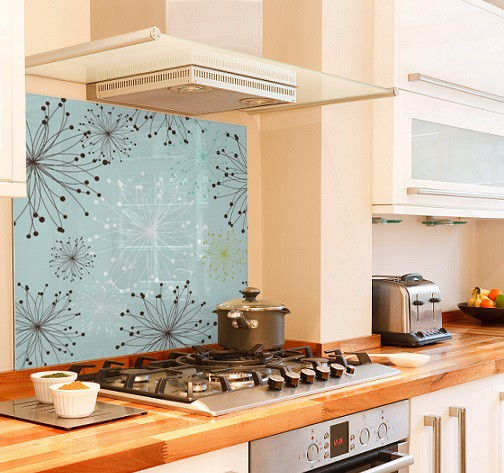 Blue-design diy kitchen glass splashback