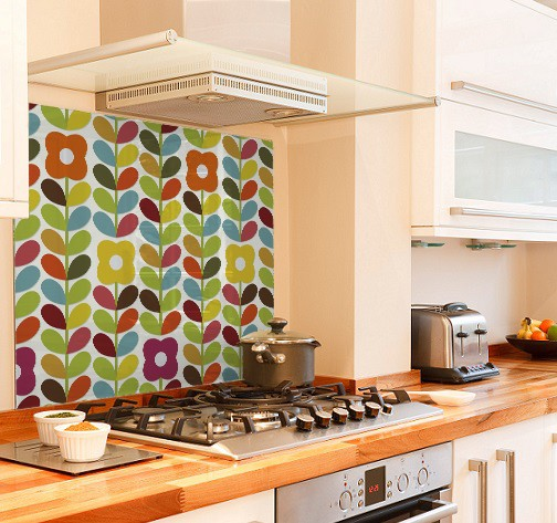 Bright-floral diy kitchen glass splashback