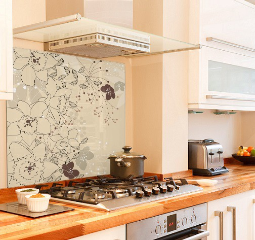 floral cream diy kitchen glass splashback