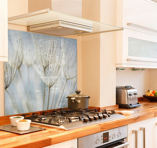 Dandelion Blue diy kitchen glass splashback