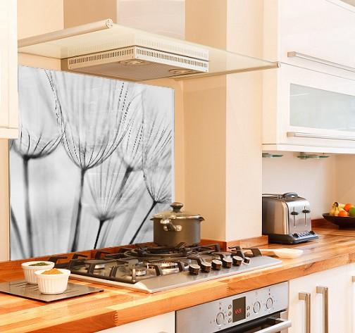 Dandelion design diy kitchen glass splashback
