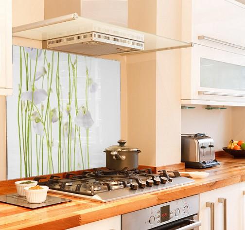 Delicate-floral diy kitchen glass splashback