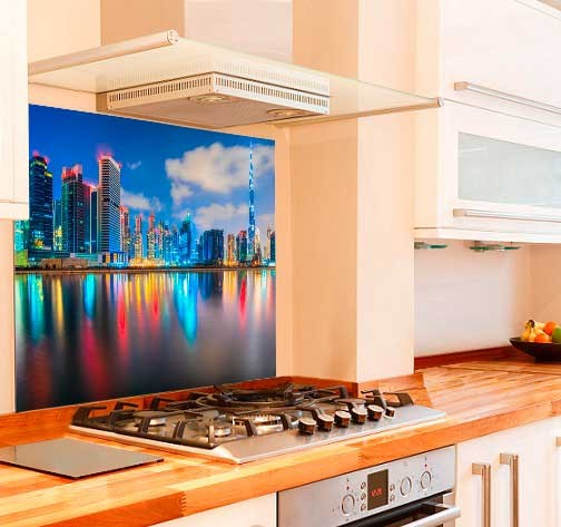 Dubai Skyline Kitchen Glass Splashback