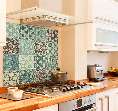 Duck egg tile diy kitchen glass splashback
