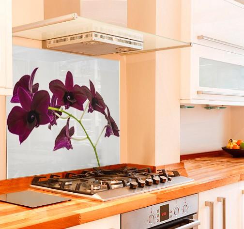 Elegant Orchid Kitchen Glass Splashback