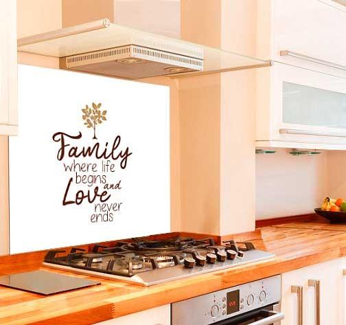 Family Kitchen Glass Splashback