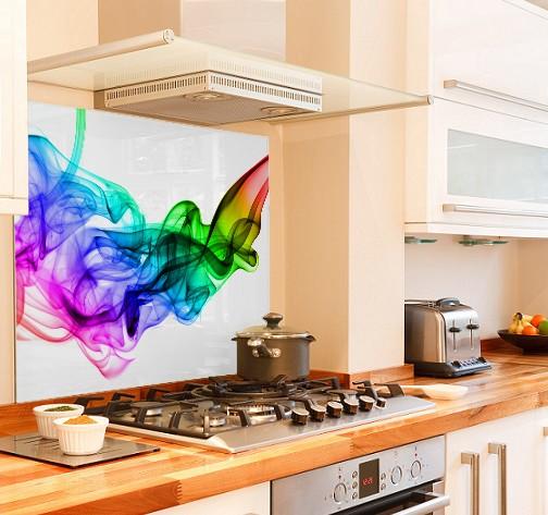 Colour fume diy kitchen glass splashback