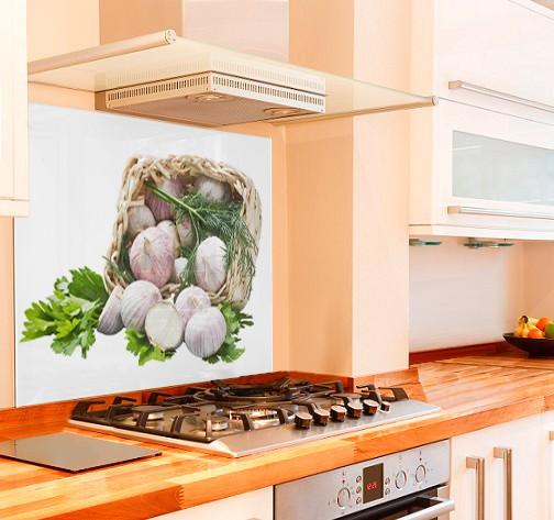 Garlic Basket Kitchen Glass Splashback