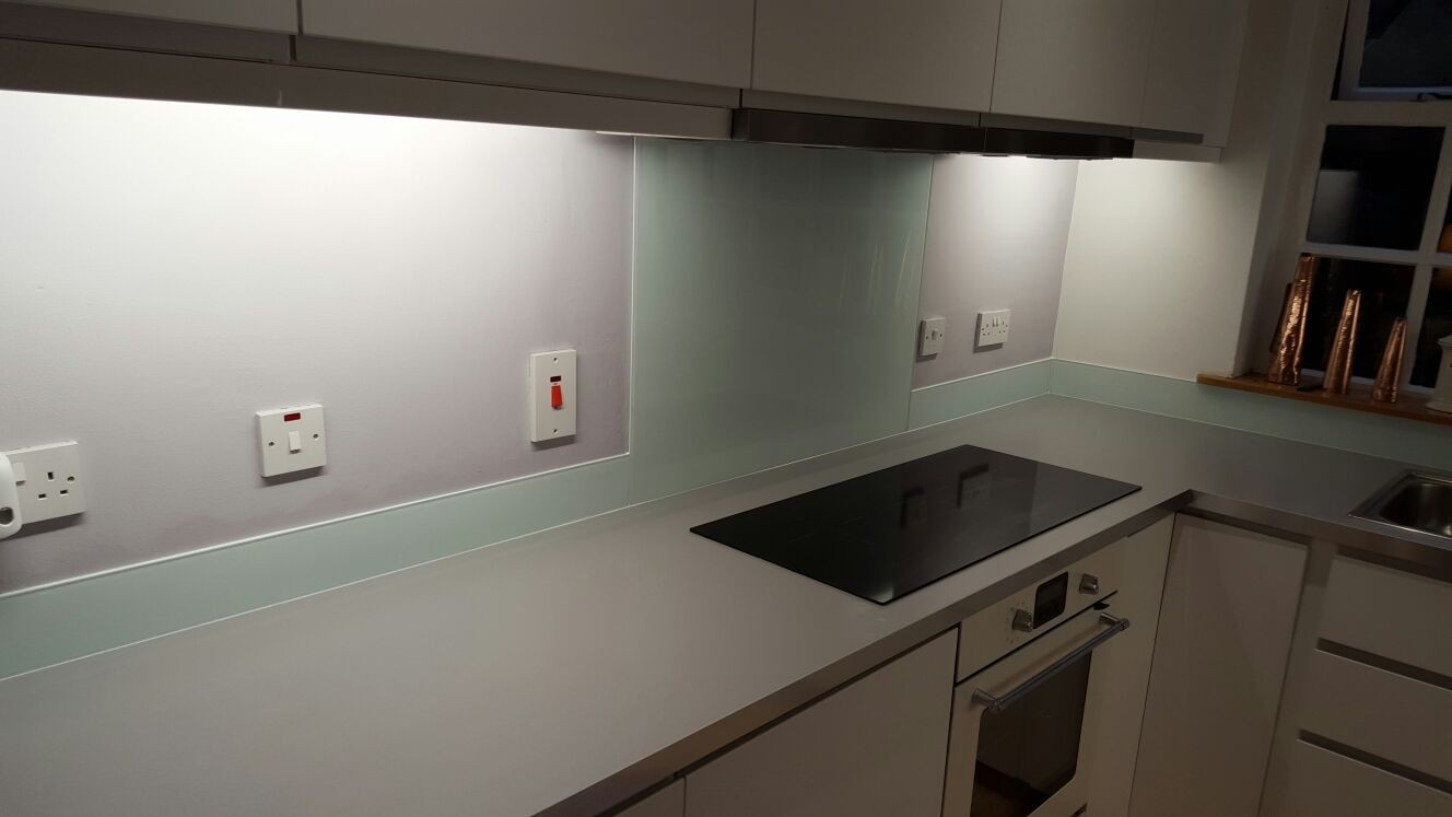 Painted DIY Kitchen natural glass upstand