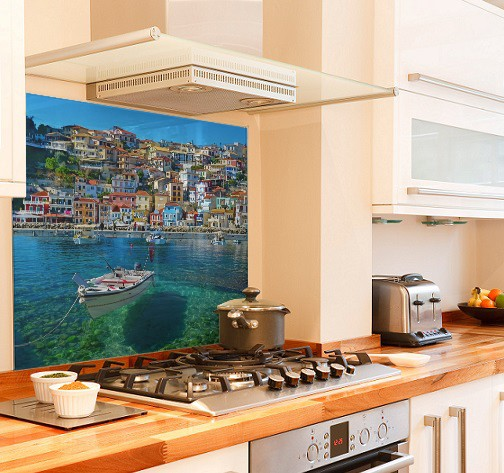 Greece picture diy kitchen glass splashback