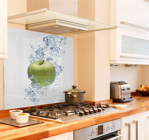 Green-apple diy kitchen glass splashback
