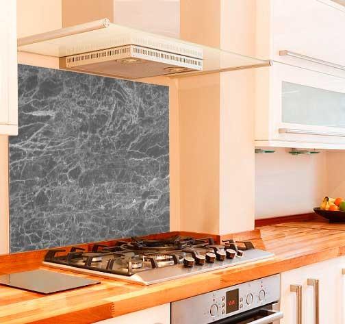Grey Marble Kitchen Glass Splashback