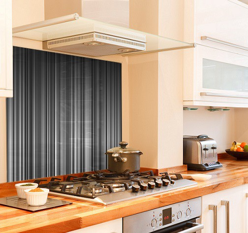 grey stripe diy kitchen glass splashback