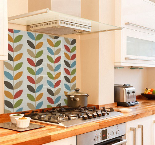 Pattern leaves diy kitchen glass splashback