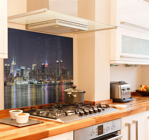 Manhattan night diy kitchen glass splashback