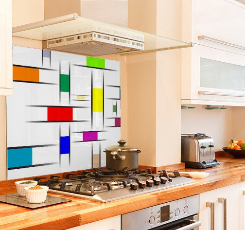 Mondrian one diy kitchen glass splashback