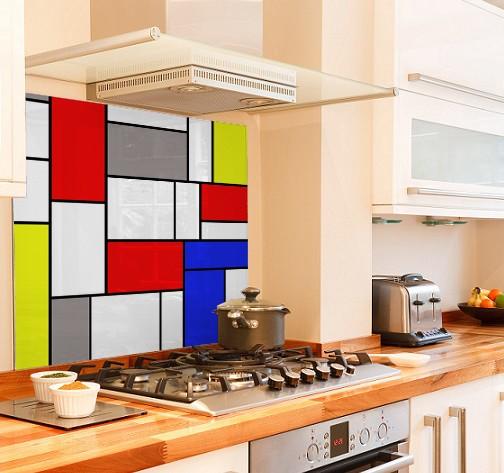 Mondrian two diy kitchen glass splashback