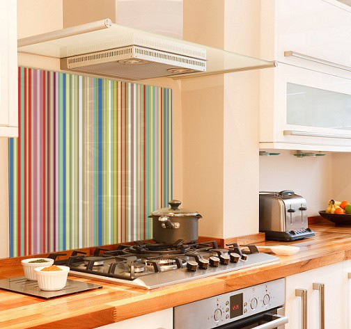 Multi stripes diy kitchen glass splashback