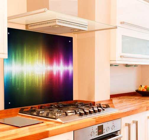 Neon Waves Kitchen Glass Splashback