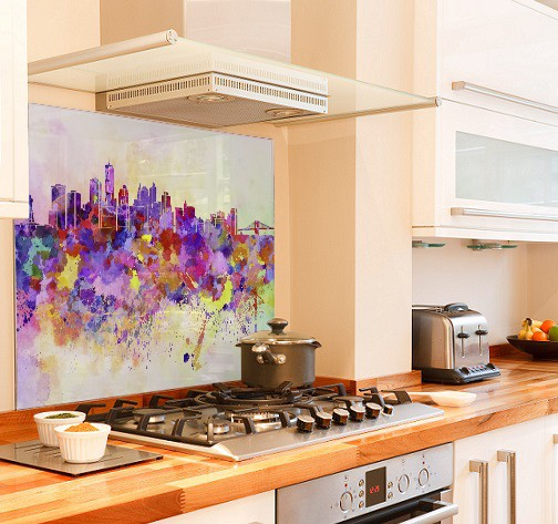 NYC watercolour diy kitchen glass splashback