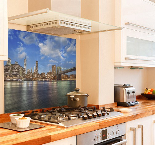 NUC Sunset diy kitchen glass splashback