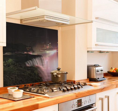 Niagra night diy kitchen glass splashback