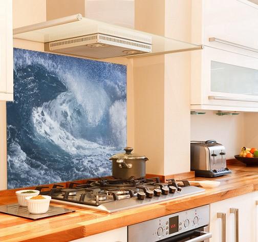 Ocean Wave in diy kitchen glass splashback