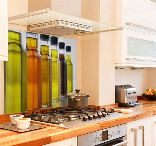 Oil bottles diy kitchen glass splashback