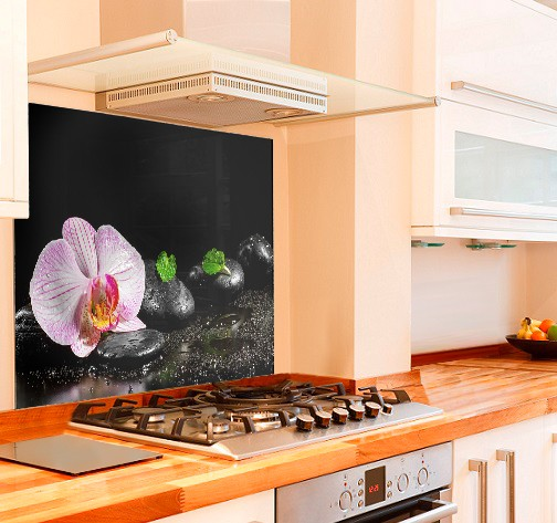 Orchid Zen Stones Kitchen Glass Splashback