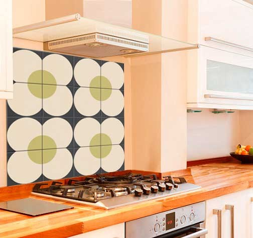 Orlas Daisy Kitchen Glass Splashback