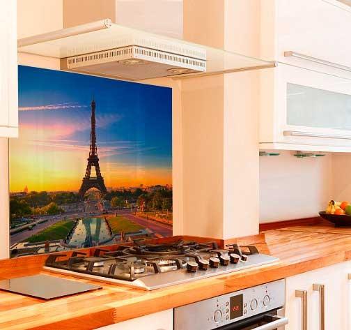 Paris Evening Kitchen Glass Splashback