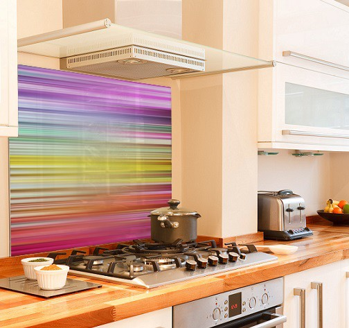 Pastel-spectrum diy kitchen glass splashback