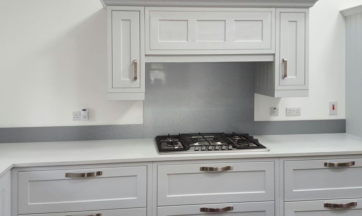 Metallic Pearl Dark Grey diy glass kitchen splashback