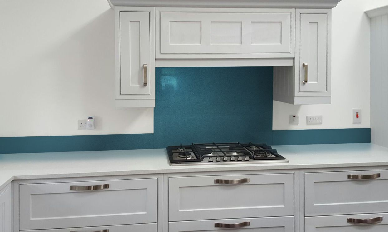 Glass - Metallic Painted Kitchen Glass Splashbacks - Gentian Blue ...