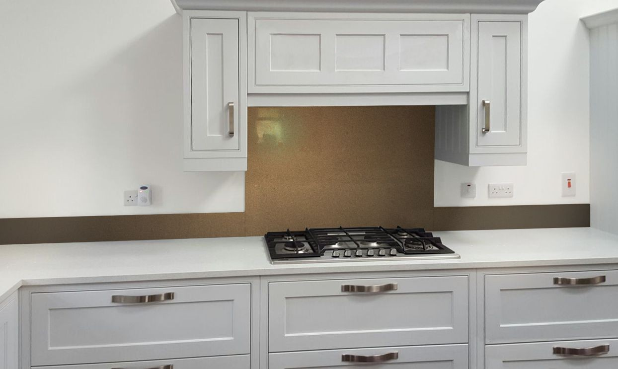 Metallic Pearl Gold diy glass kitchen splashback