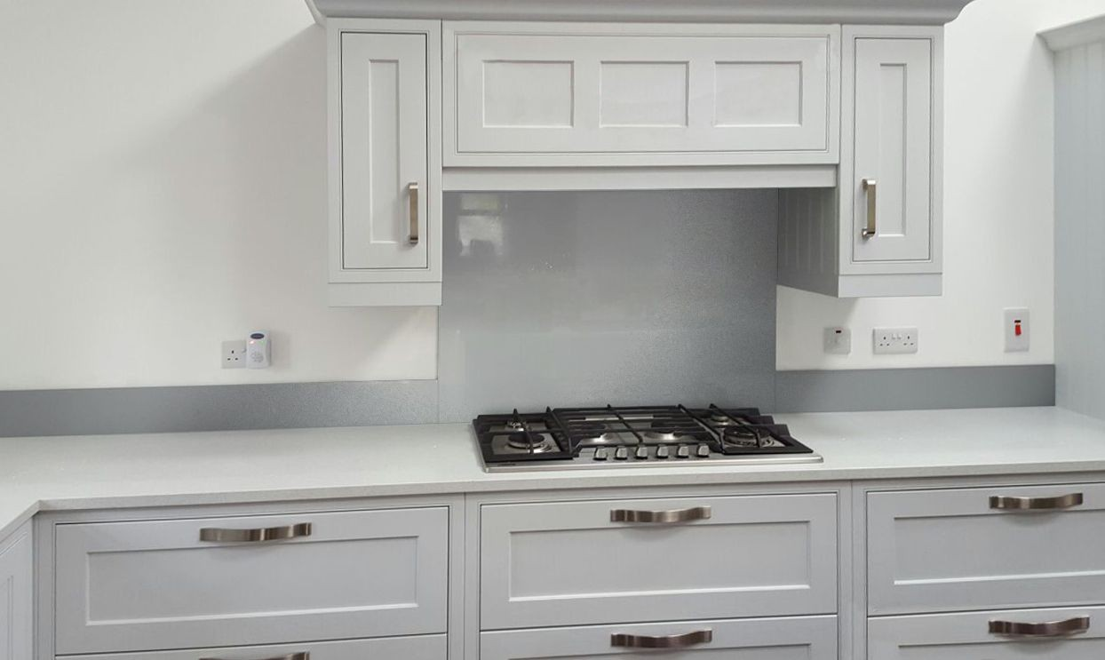 Glass Metallic Painted Kitchen Splashbacks Light Grey