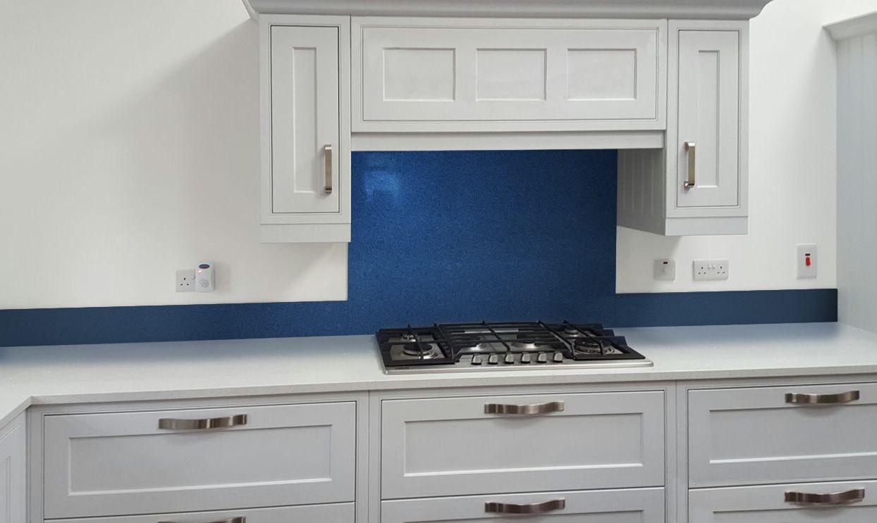 Metallic Pearl Night Blue diy glass kitchen splashback