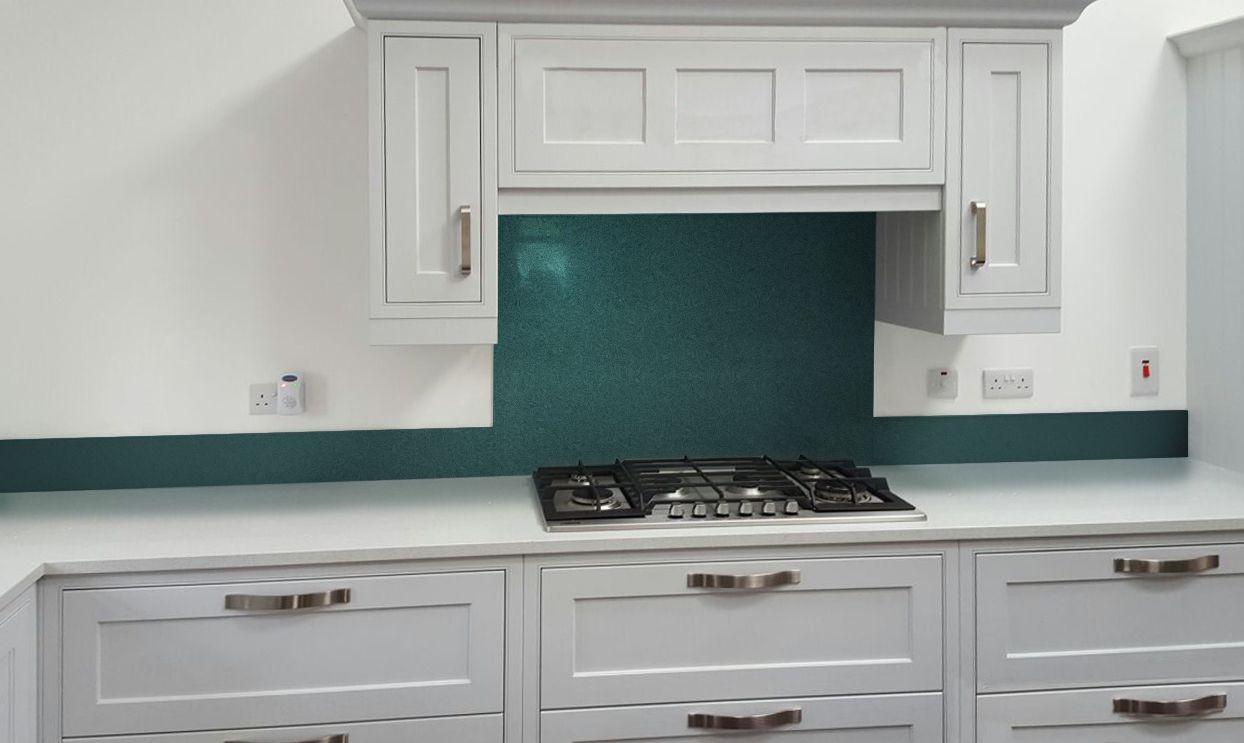 Metallic Pearl Opal Green diy glass kitchen splashback