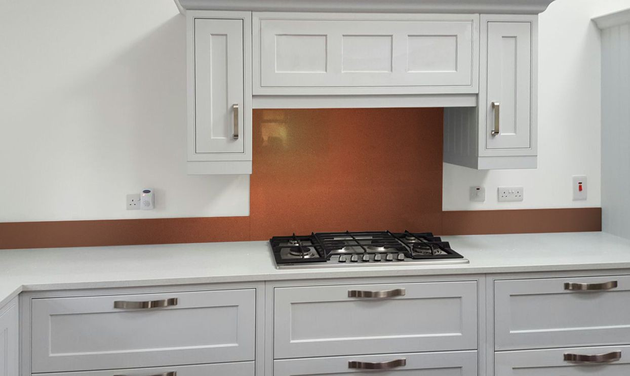 Metallic Pearl Orange diy glass kitchen splashback