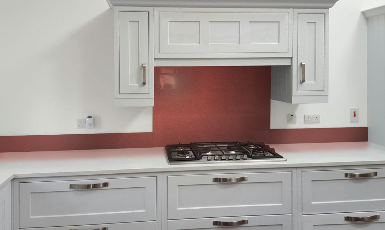 Glass Metallic Painted Kitchen Glass Splashbacks Pearl