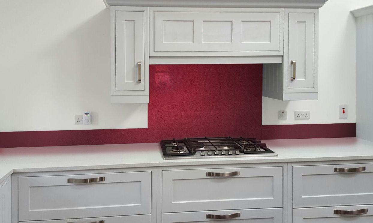 Metallic Pearl Ruby red diy glass kitchen splashback