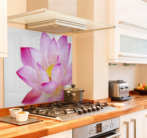 Pink-lotus diy kitchen glass splashback