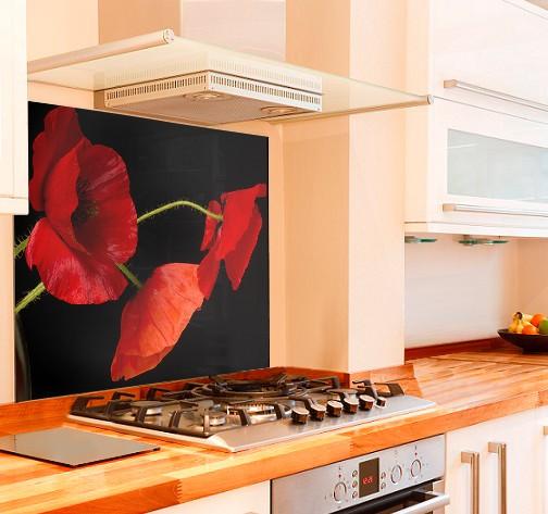 Pretty Poppies Kitchen Glass Splashback