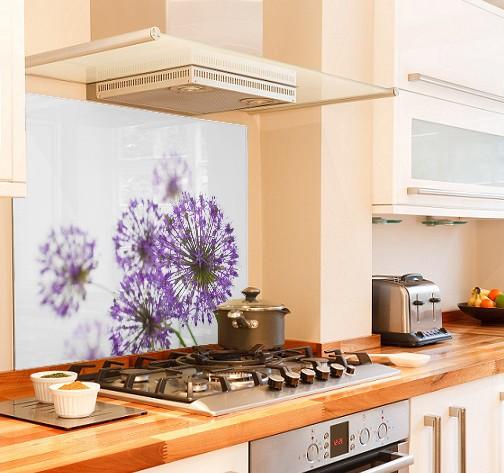 Allium in purple diy kitchen glass splashback