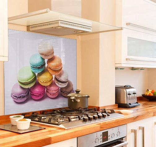 rainbow-macaroon diy kitchen glass splashback