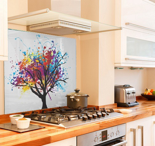 Rainbow-tree diy kitchen glass splashback