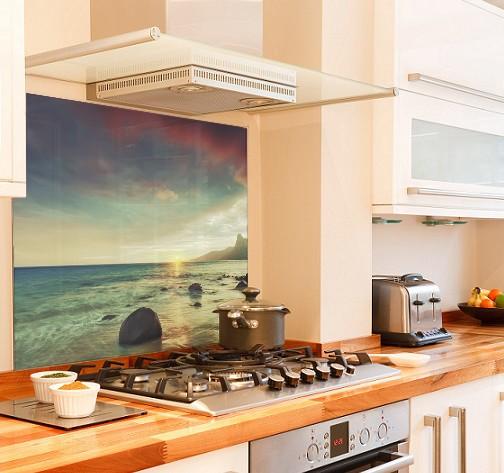 Sea-sunrise diy kitchen glass splashback