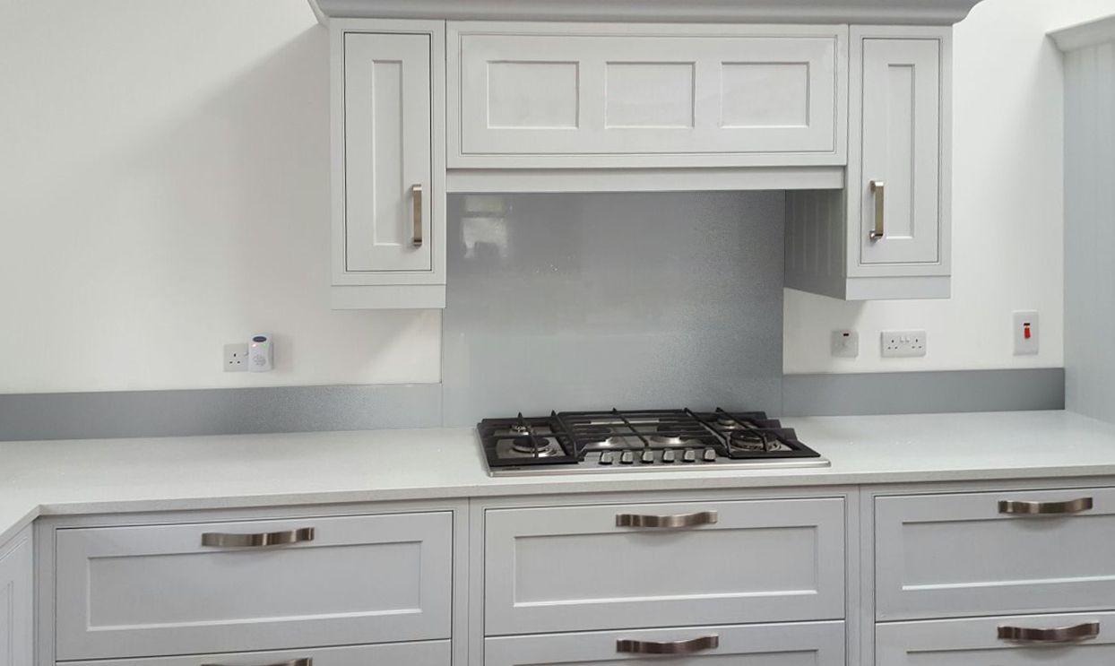 Metallic Silver diy glass kitchen splashback